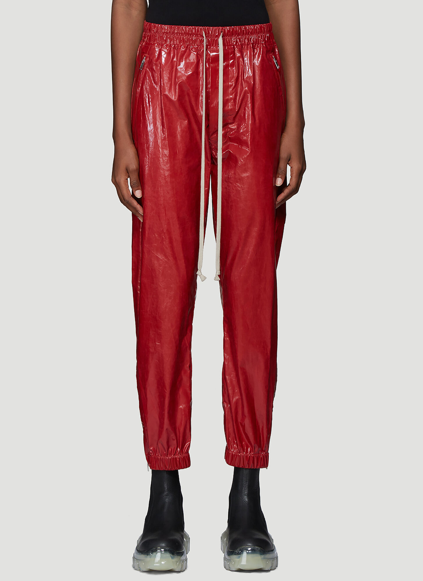 Rick Owens Zip Cuff Track Pants in Red
