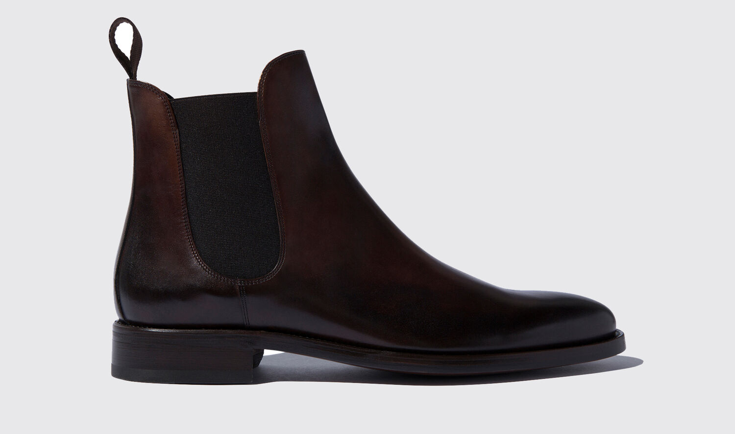 Image of Chelsea Boots Italian Shoe Scarosso male Enzo Ebano Dark Brown Calf Calf Leather 43