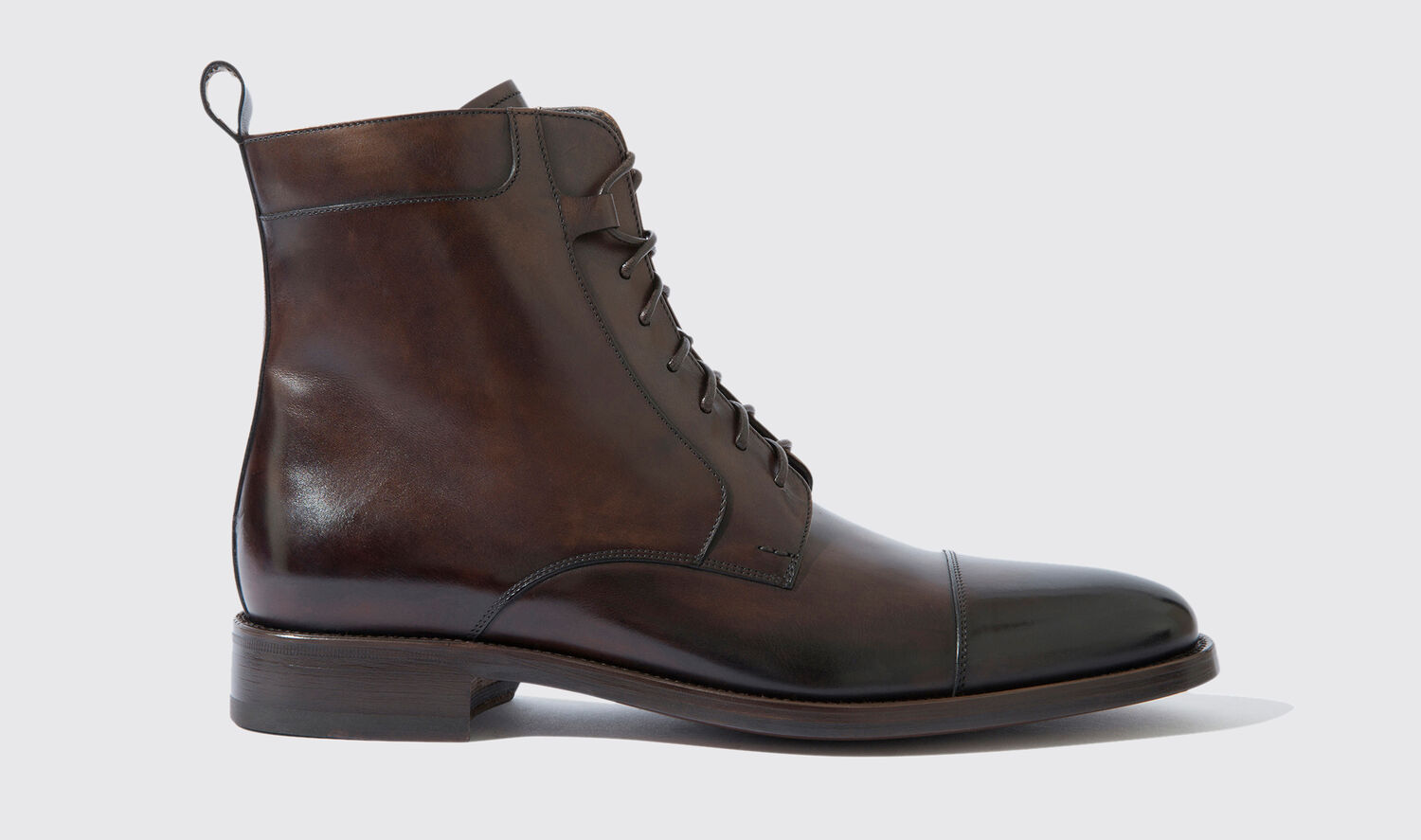 Image of Boots Italian Shoe Scarosso male Totò Ebano Dark Brown Calf Calf Leather 47