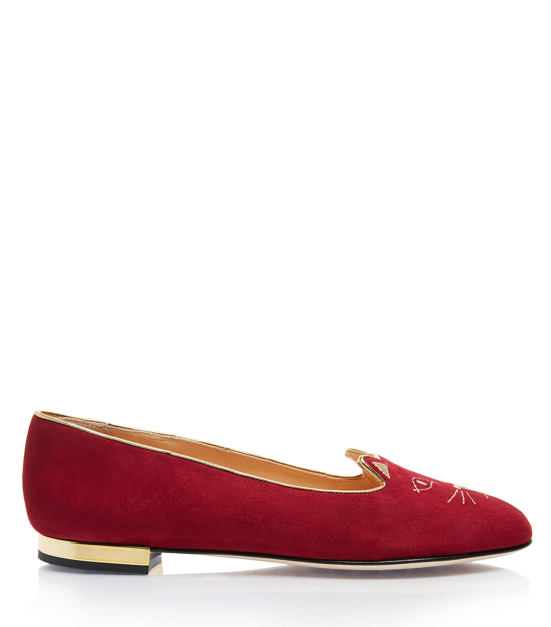 Charlotte Olympia Soft Kitty Flats In Bordeaux