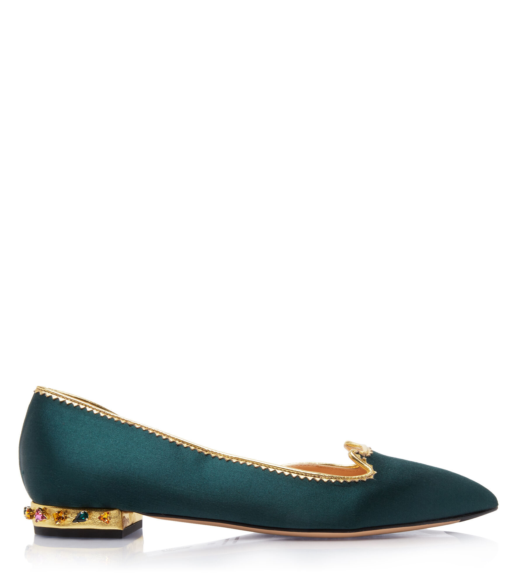 Charlotte Olympia Bejewelled Kitty D'Orsay In Bottle Green & Multicolor
