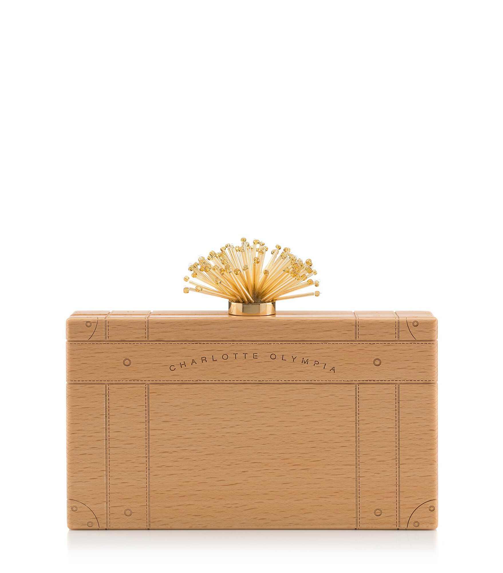 Charlotte Olympia Clutch and Handbags Women - PANDORA VC NATURAL & GOLD WOOD OS