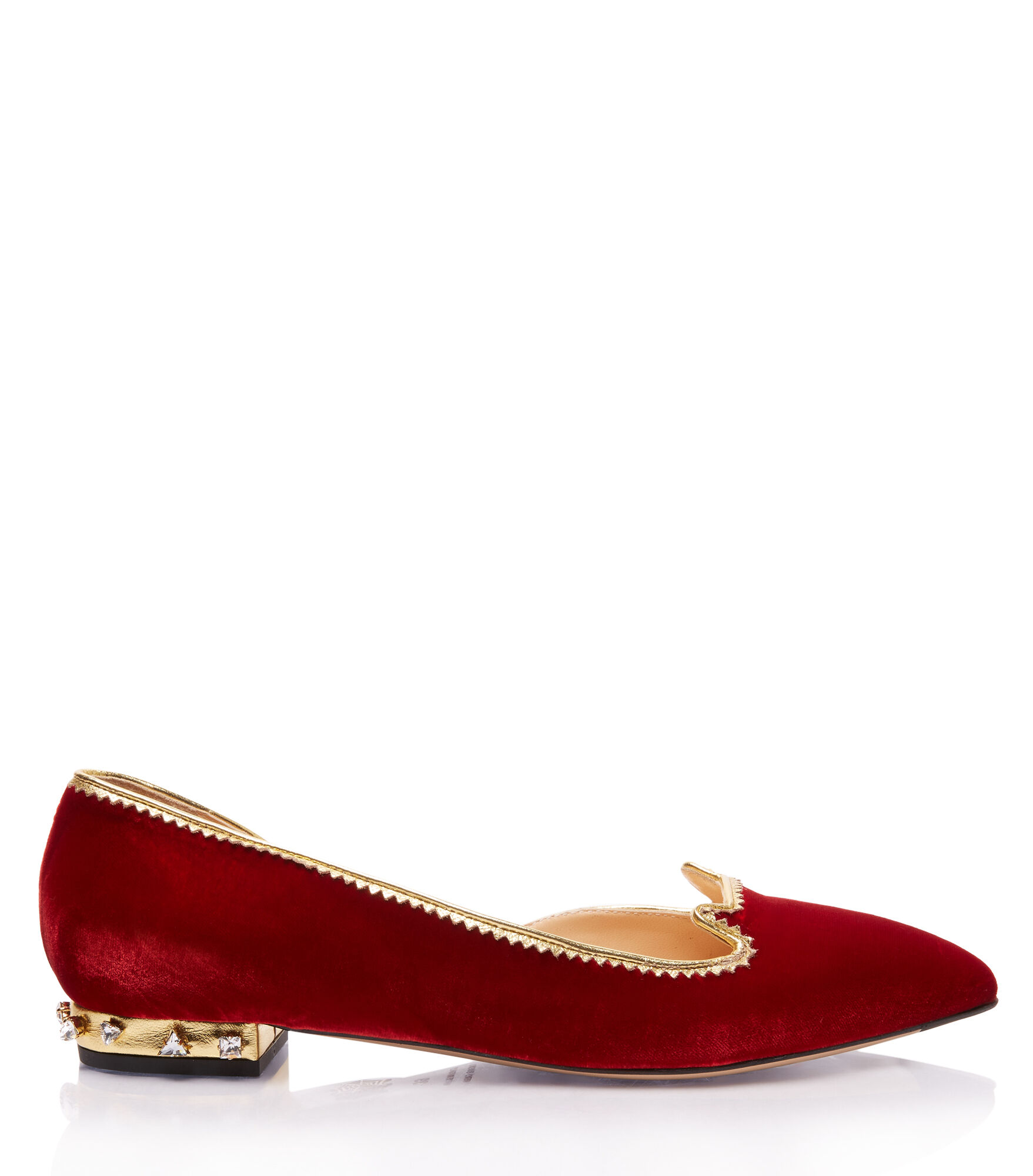 Charlotte Olympia Bejewelled Kitty D'Orsay In Fire Red&Crystal