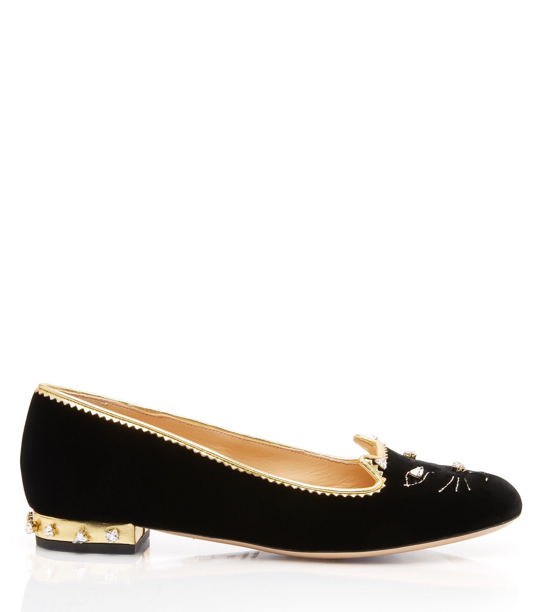 Charlotte Olympia Bejewelled Kitty In Black&Crystal