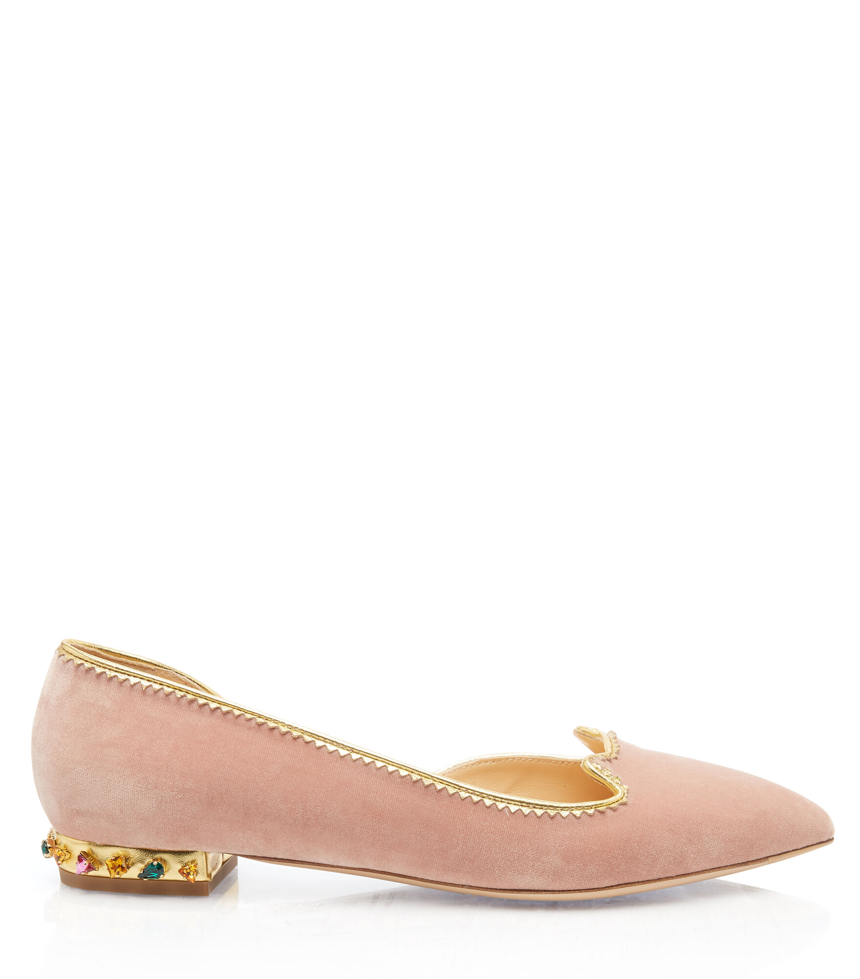 Charlotte Olympia Bejewelled Kitty D'Orsay In Petal Pink&Multicolor