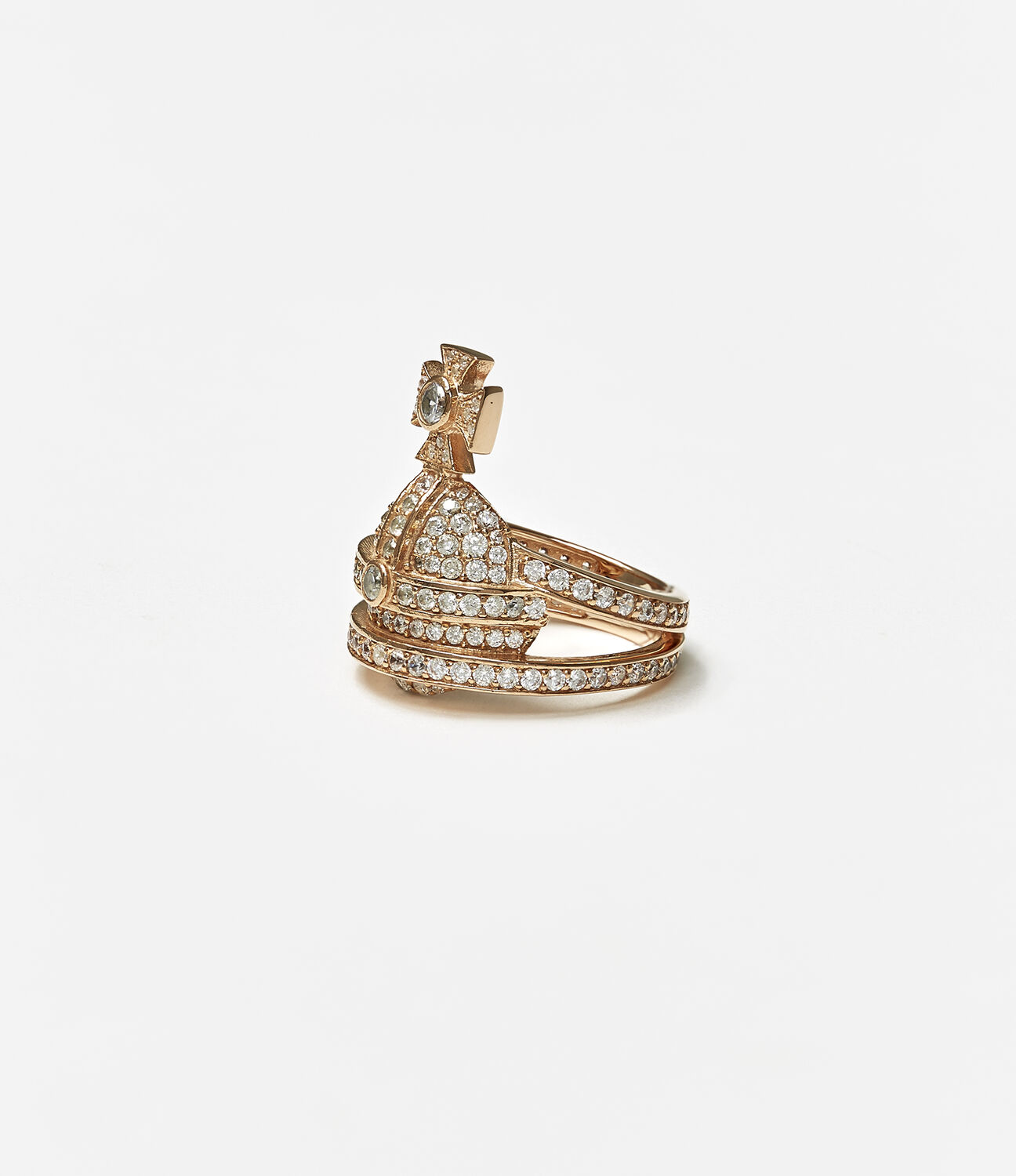 VIVIENNE WESTWOOD | Sterling Silver Orb Ring Pink Gold | Goxip